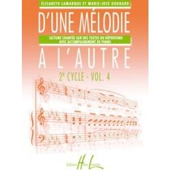Elisabeth Lamarque - Marie-José Goudard, D'une mélodie à l'autre 2ème cycle Volume 4