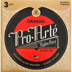 Pack 3 Jeux de cordes D'Addario Pro Arté Rouge